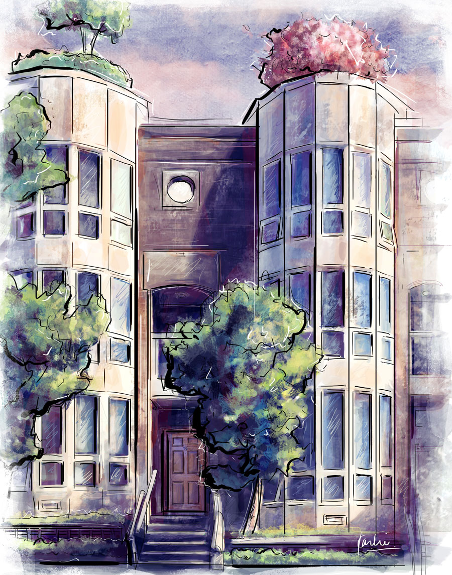 Portrait of a Townhouse: custom commissioned artwork - mixed media