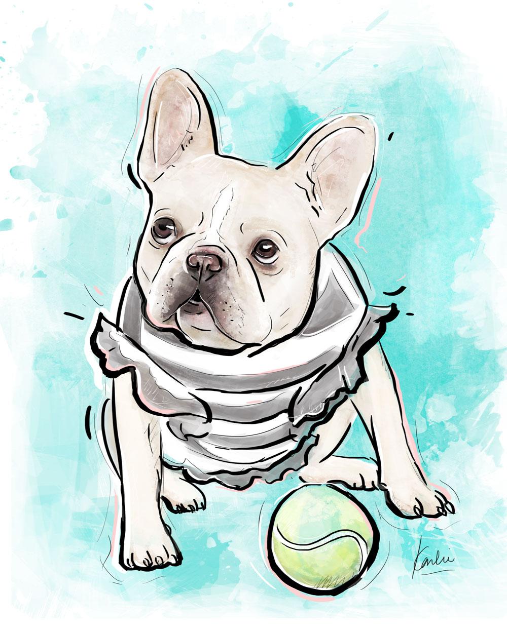 Pet Illustration: custom dog portrait commissioned artwork | Murrow the Frenchie - mixed media