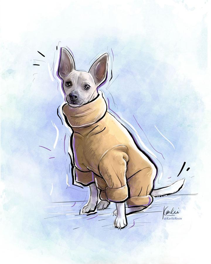 Pet Illustration: custom dog portrait commissioned artwork | Pip - mixed media