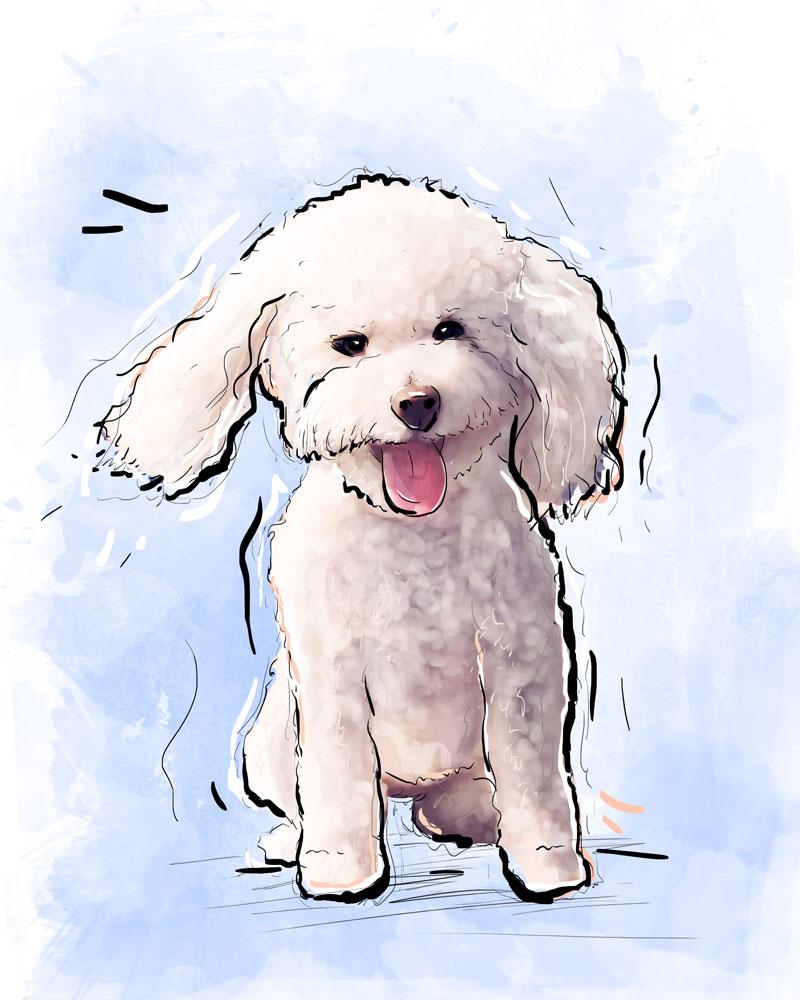 Pet Illustration: custom dog portrait commissioned artwork | Chanel - mixed media