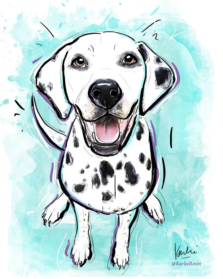 Pet Illustration: custom dog portrait commissioned artwork | Maverick - mixed media