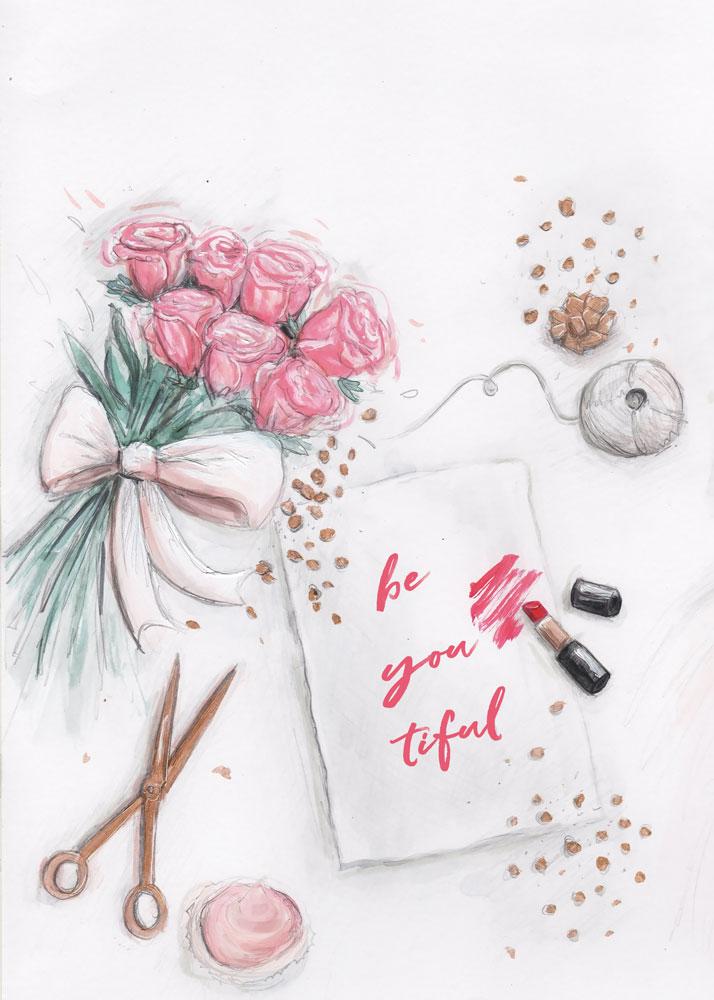 be YOU tiful: fashion illustration - acrylic paint, watercolours and digital finish