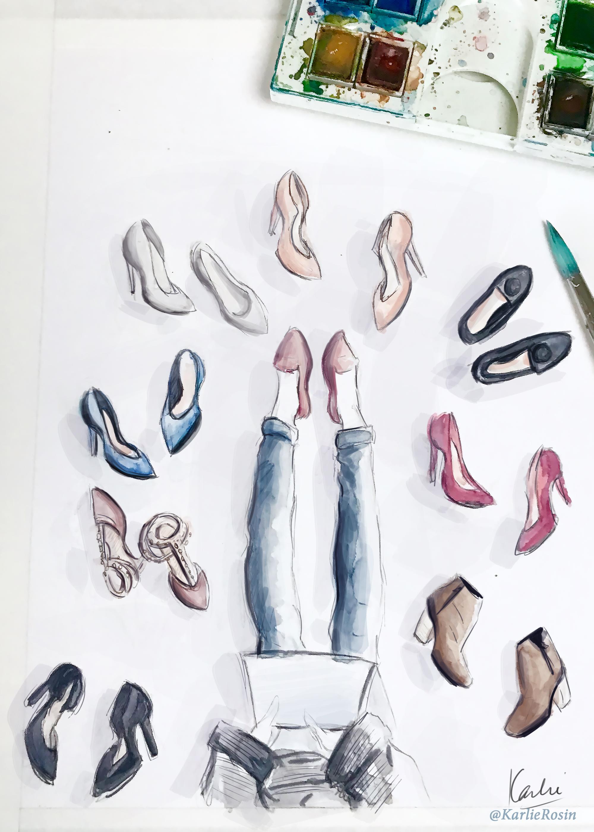 Fashion illustration: watercolour, acrylic paint and digital finish