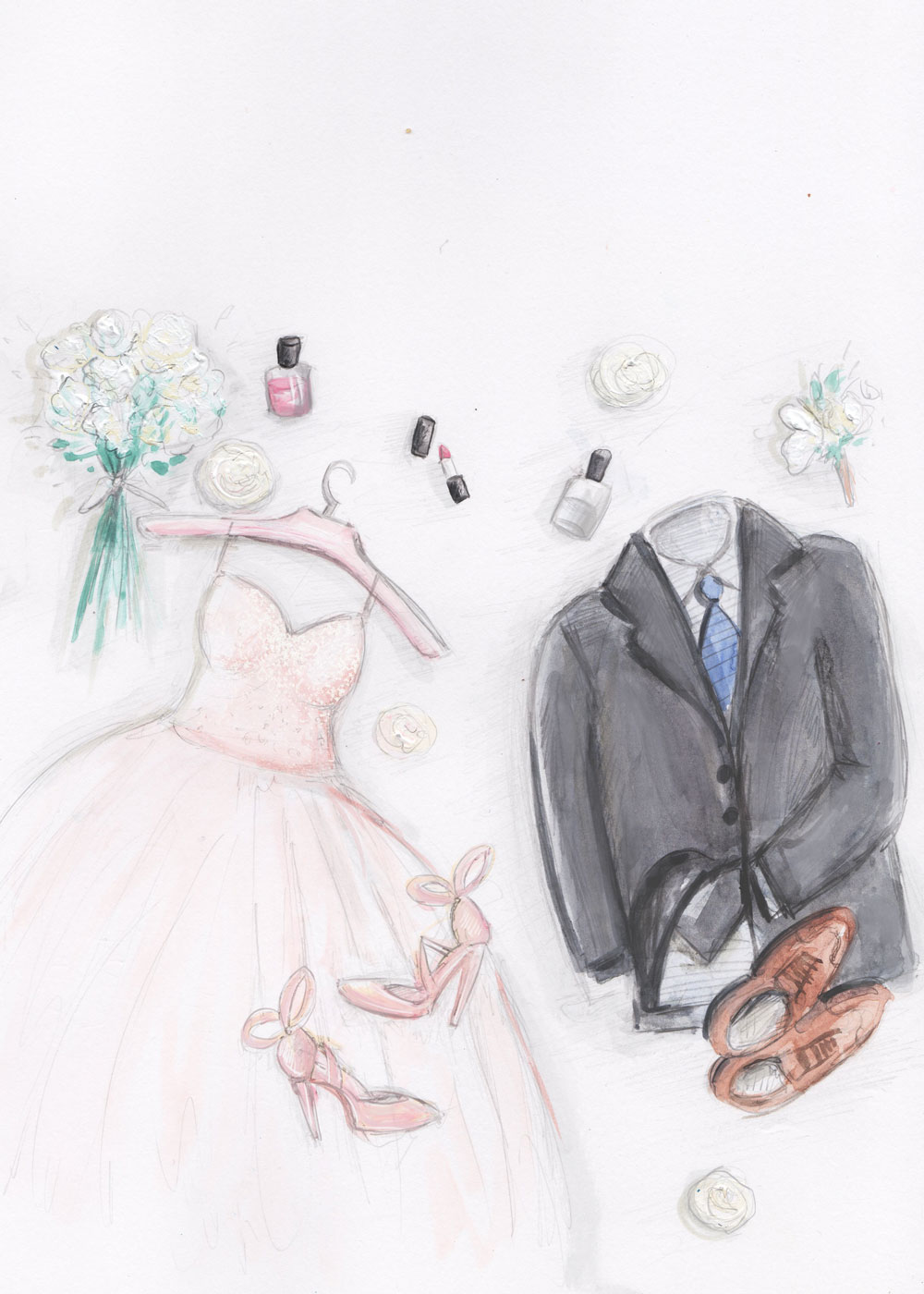 I do: fashion illustration - acrylic paint, watercolour and digital finish