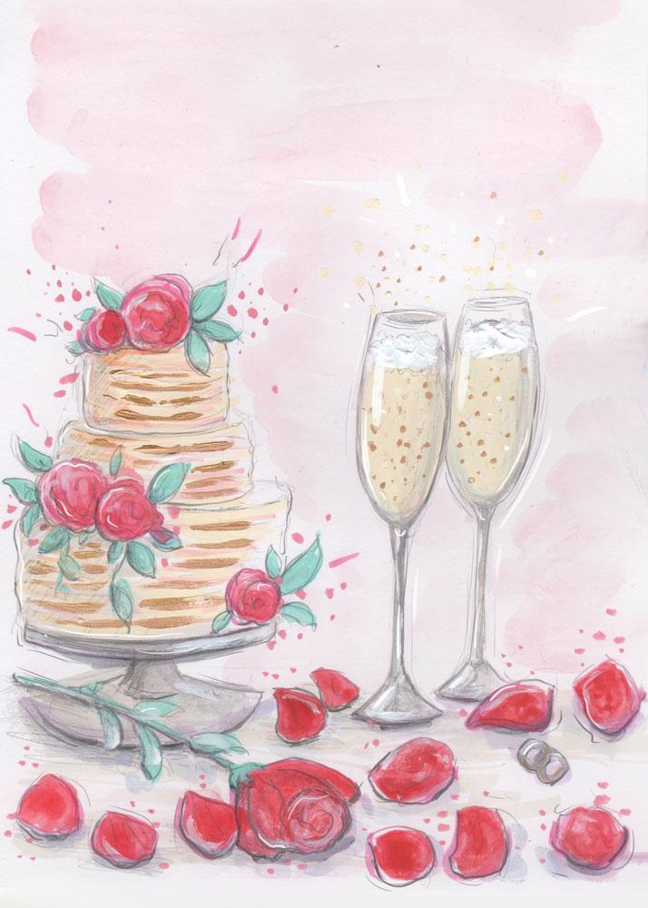 Wedding Cake Fashion Illustration: watercolour, acrylic paint and digital finish