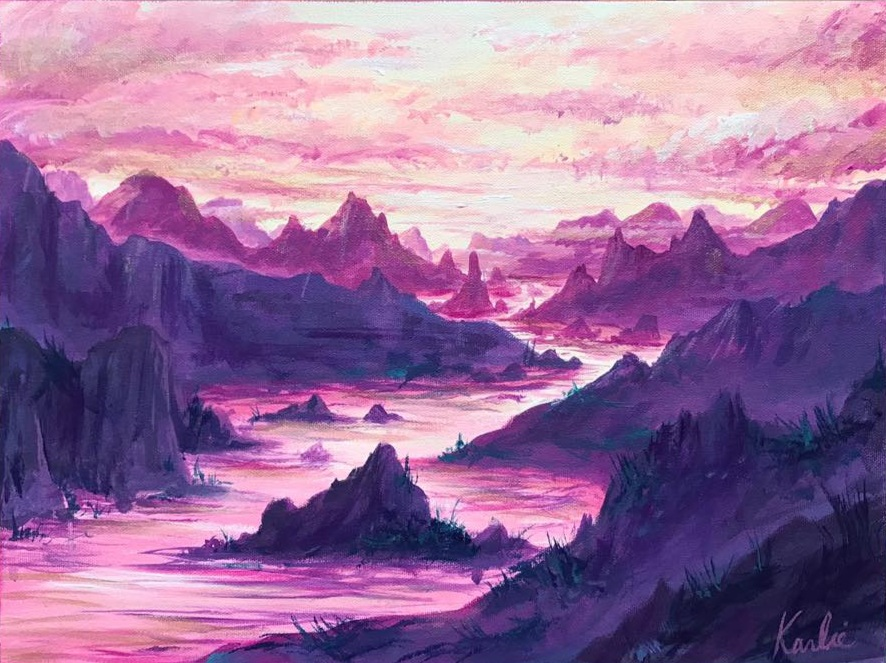 Rosy Landscapes: acrylic on canvas with accents of iridescent pink paint