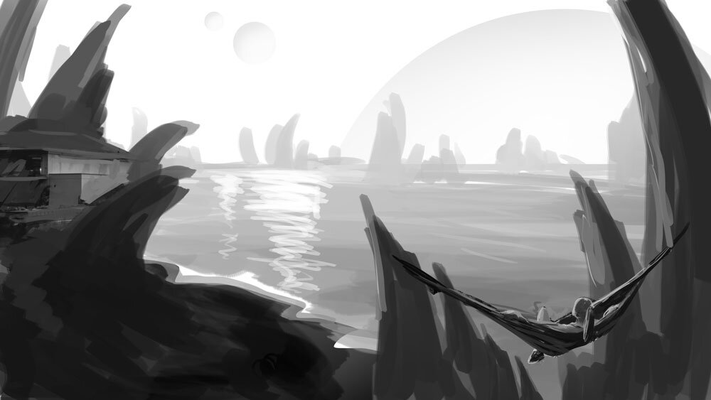 Circumbinary Stoneside Resort: matte painting as a part of the luxury travels on exoplanets project by Karlie Carpentier Rosin. This is the grey scale concept I created after waking up one morning imagining this landscape. Karlie started from this sketch to make the final image. As you can see, this is a very quick illustration just to get the general idea down and get the feel for what the composition will be.