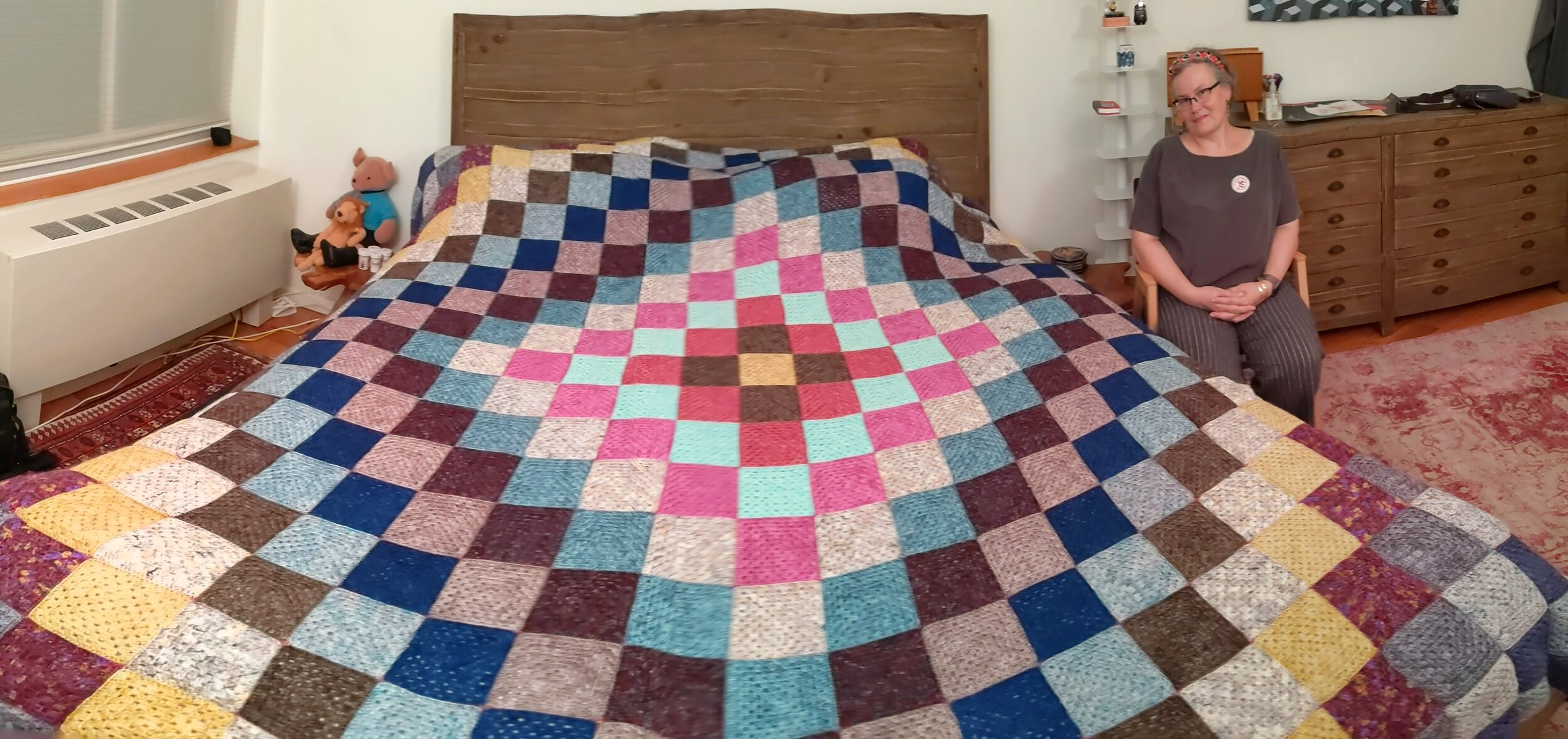 6 months, 529 granny squares, because a crochet hook travels better than a sewing machine…