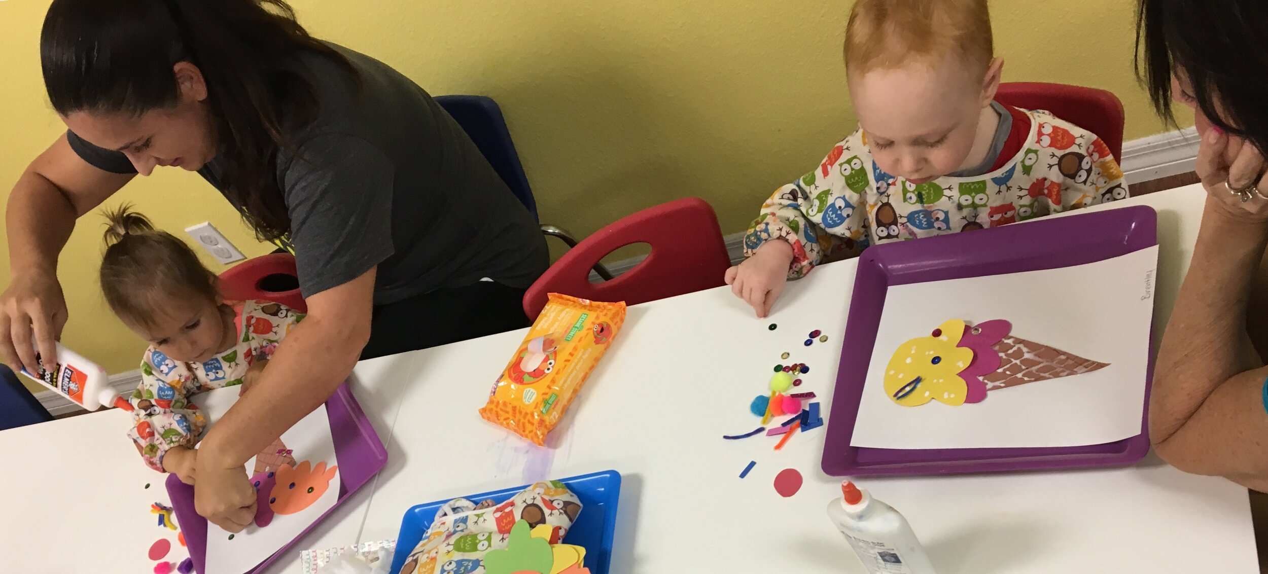 Baby Picasso - Baby Picasso is a fun Art class for ages 8 months to 3 years. Infants & toddlers  will enjoy sensory & fine motor skills experiences in this child & caregiver class. Includes Open Play admission before or after class. Please call to sign up at least a day in advance, walk ins permitted as space allows. Classes take place, during Open Play, on Tuesday's from 4:00-4:30 & Friday's 9:45-10:15.