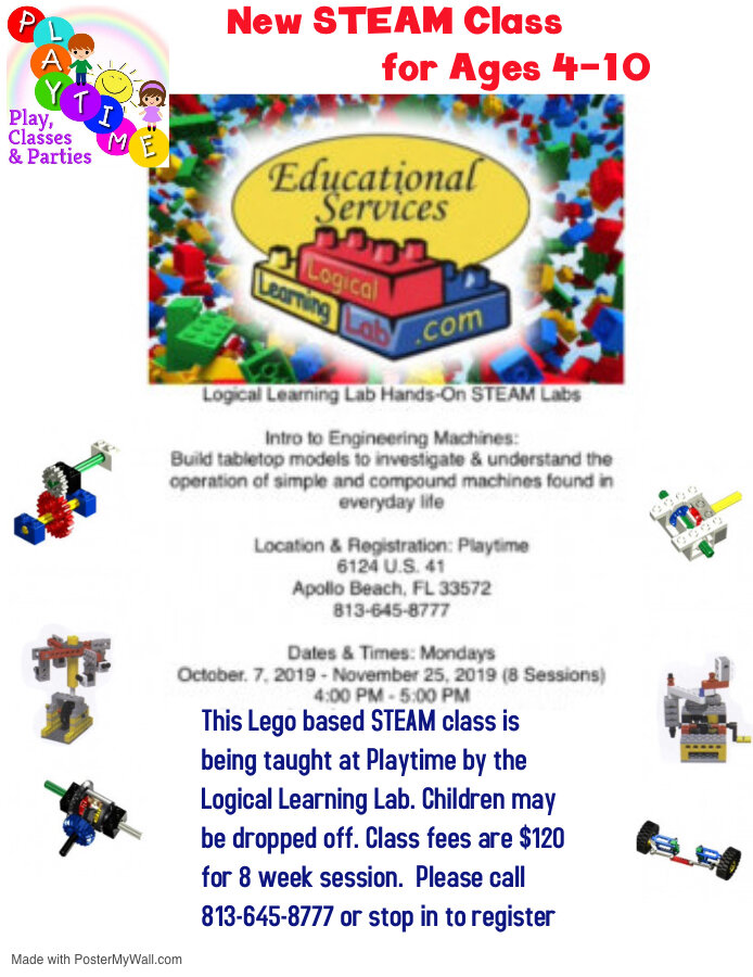Lego STEAM Lab - This Lego based STEAM Lab is for ages 4-10 & taught by the Logical Learning Lab. Please call for availability.  This class meets on Monday's from 4:00-5:00.