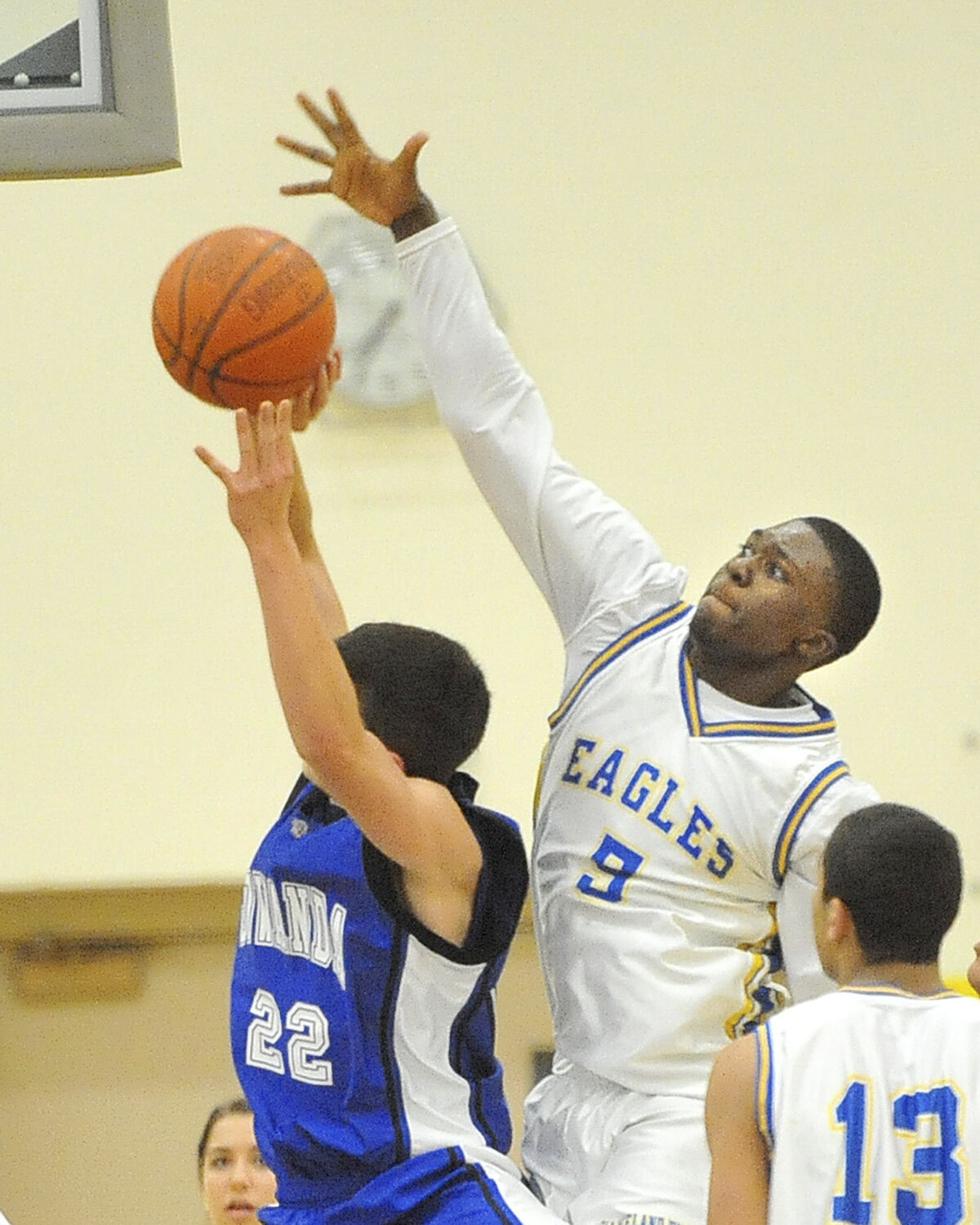 Clev-Hill's Jermaine Hairston tries to stuff Gowanda's Carter Benton as Clev-Hill faces Gowanda in boys varsity basketball.