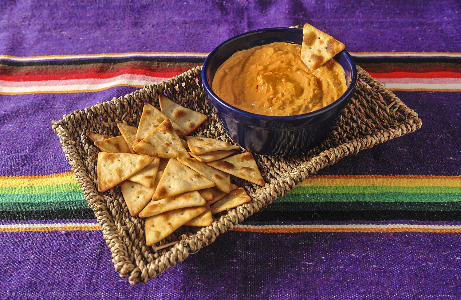 Hummus and pita chips for the CERT cookbook.