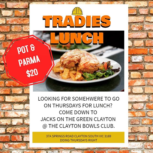 Tradies are you looking for somewhere to go for lunch every Thursday? Come down to @jacksclayton every Thursday for our amazing 250g 100% real chicken breast Parma!! Only $20 with a pot of our new beer on tap Alehouse PREMIUM DRAUGHT! See you soon 🍻 #promo #fooddeals #beer #parma #fresh #tradie #lunchtime #thursday #tradielunch #clayton #hungry @claytonbowlsclub