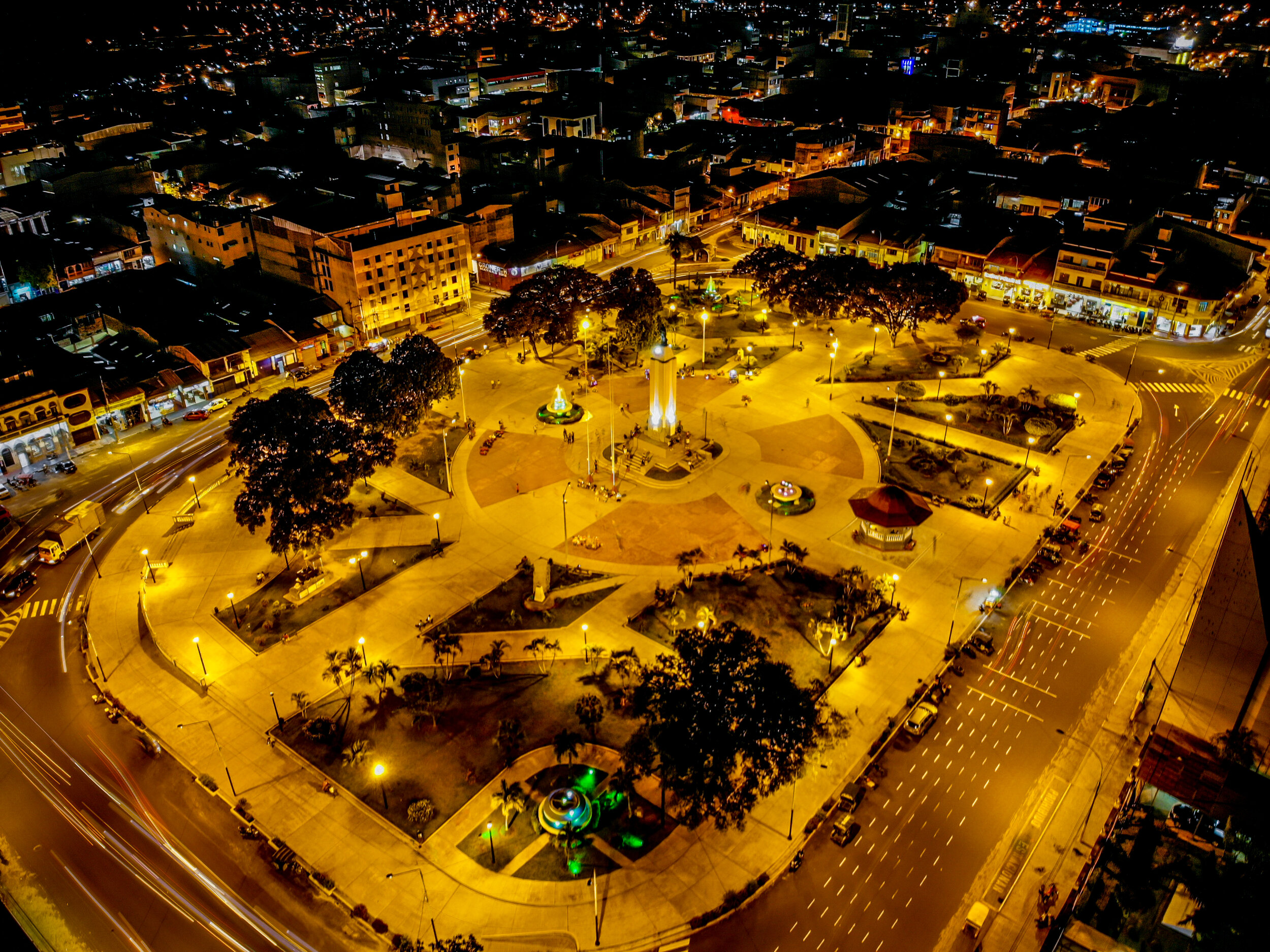 This photo shows Iquitos' main square, the plaza de armas, at night. Iquitos is a bustling city of more than 400,000 individuals!