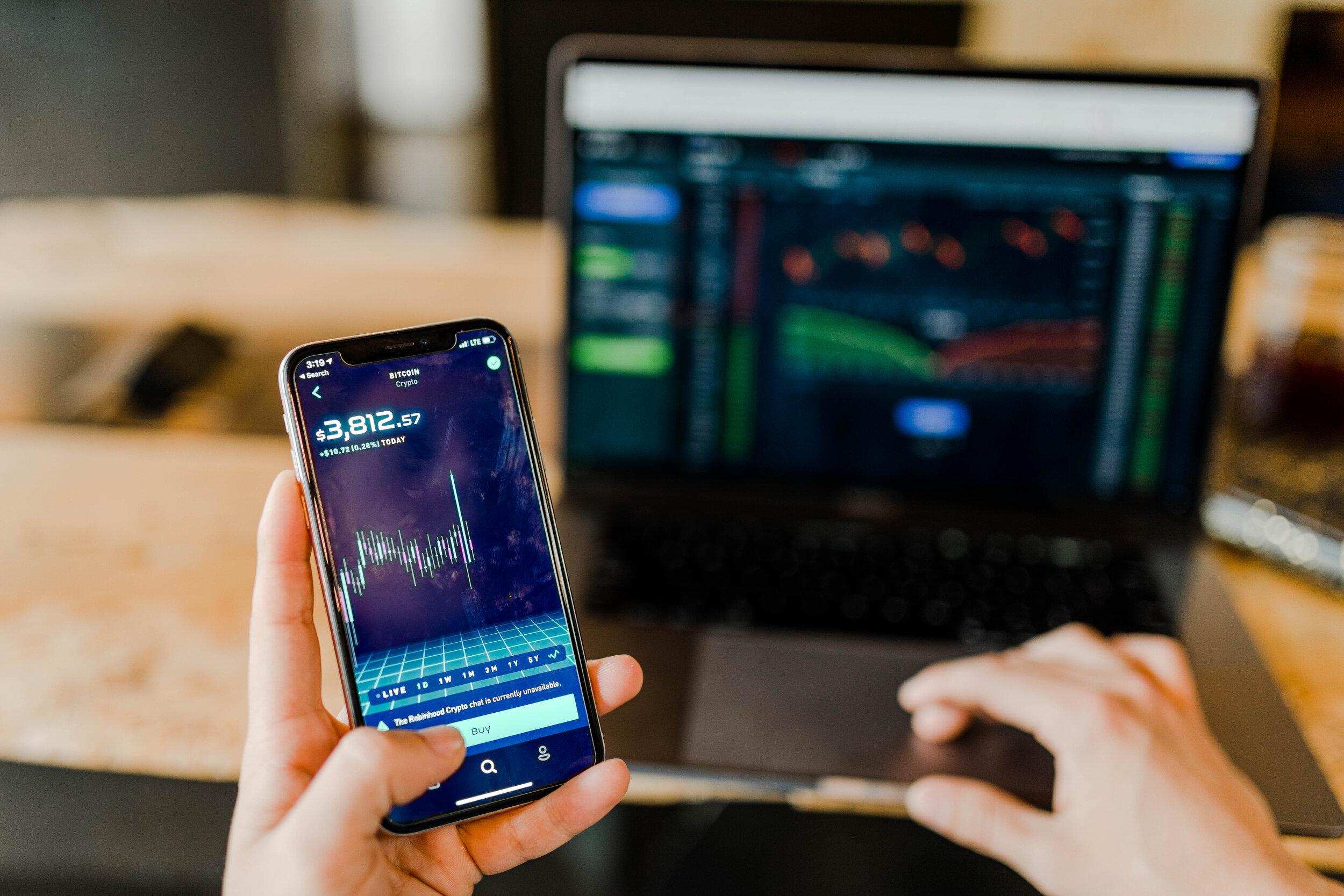 financial data on a smartphone screen