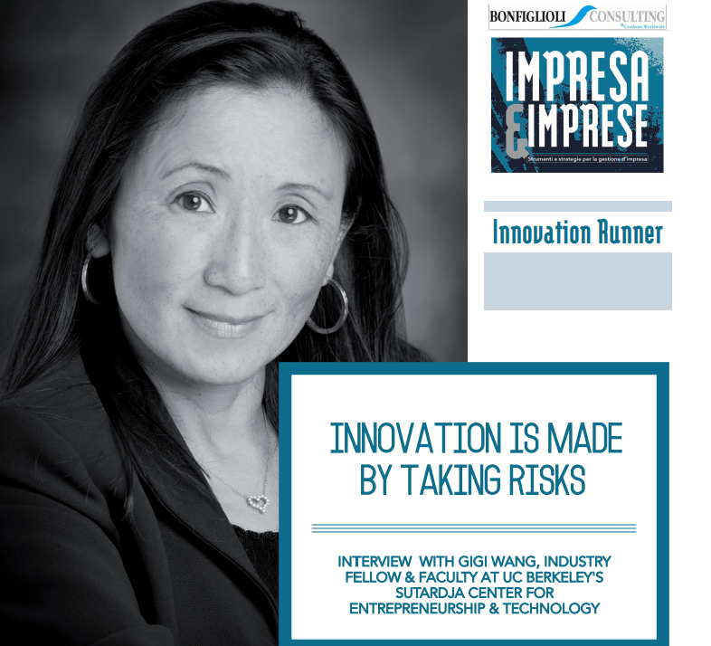 Woman smiling next to the words innovation is made by taking risks