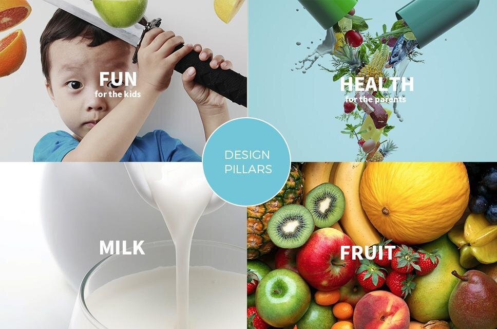four images in a grid pattern - from top left and clockwise, child, vegetables, milk, fruit