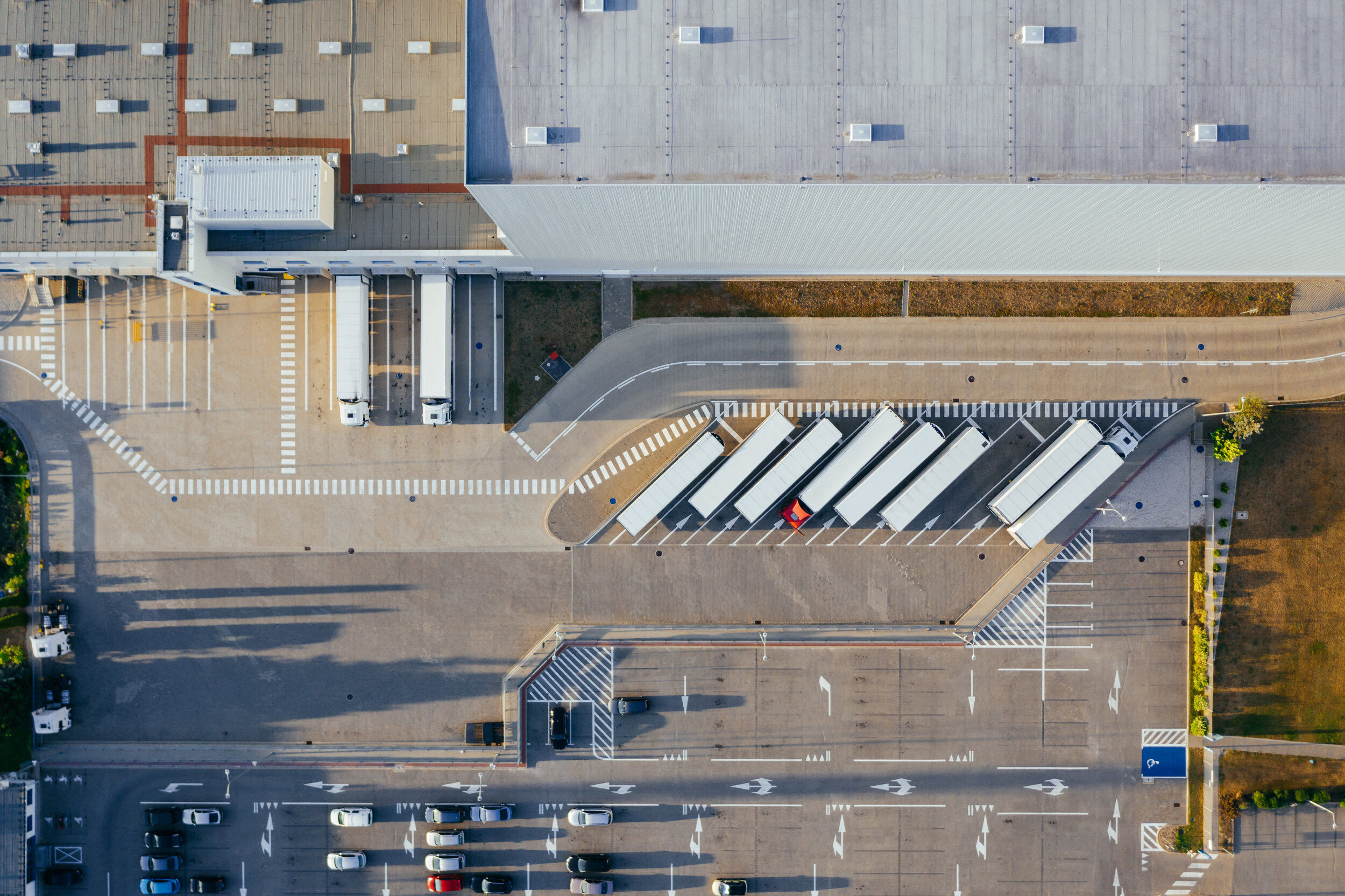 aerial view of semi-truck trailers