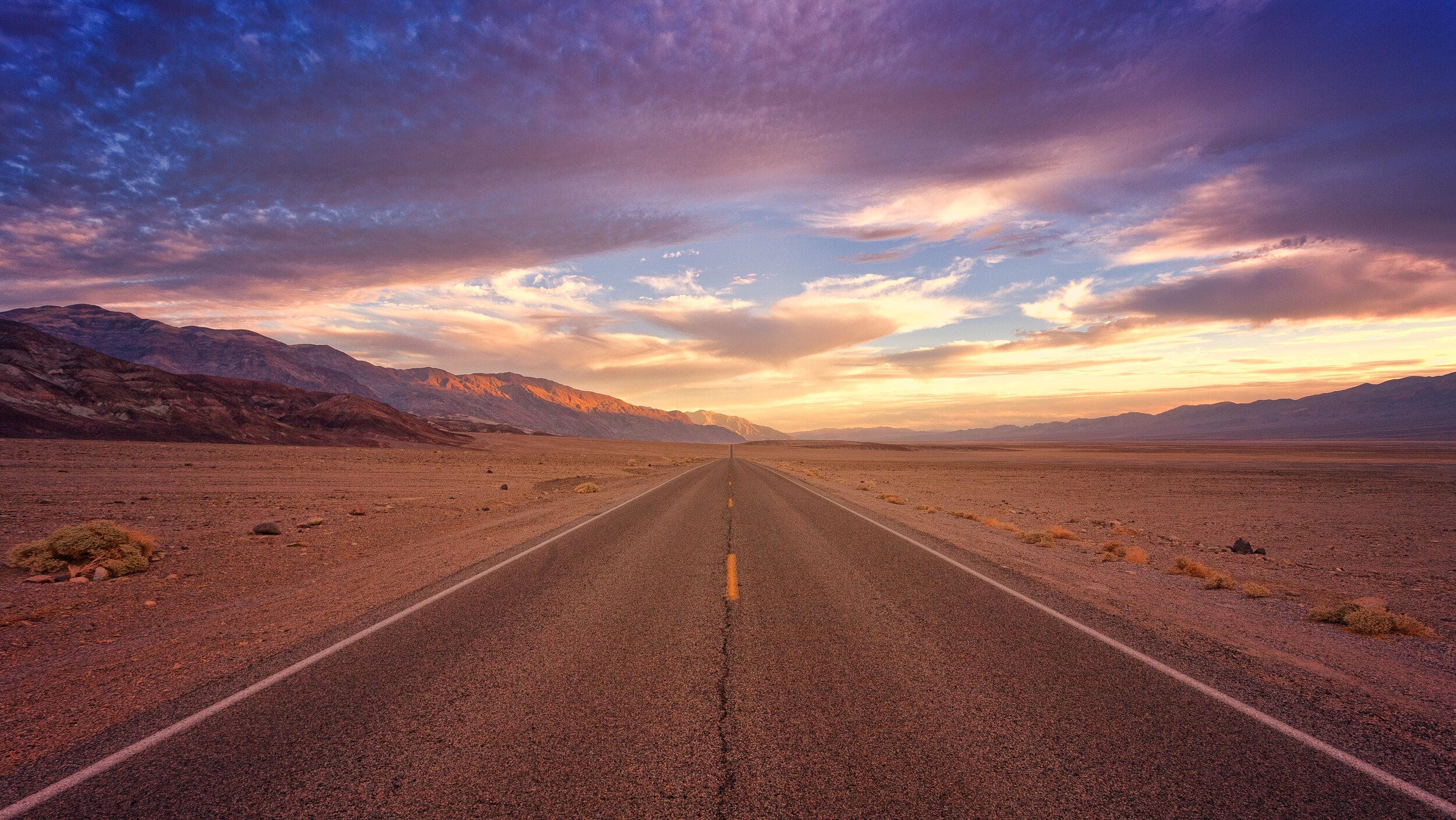 beautiful sunset over a desert road