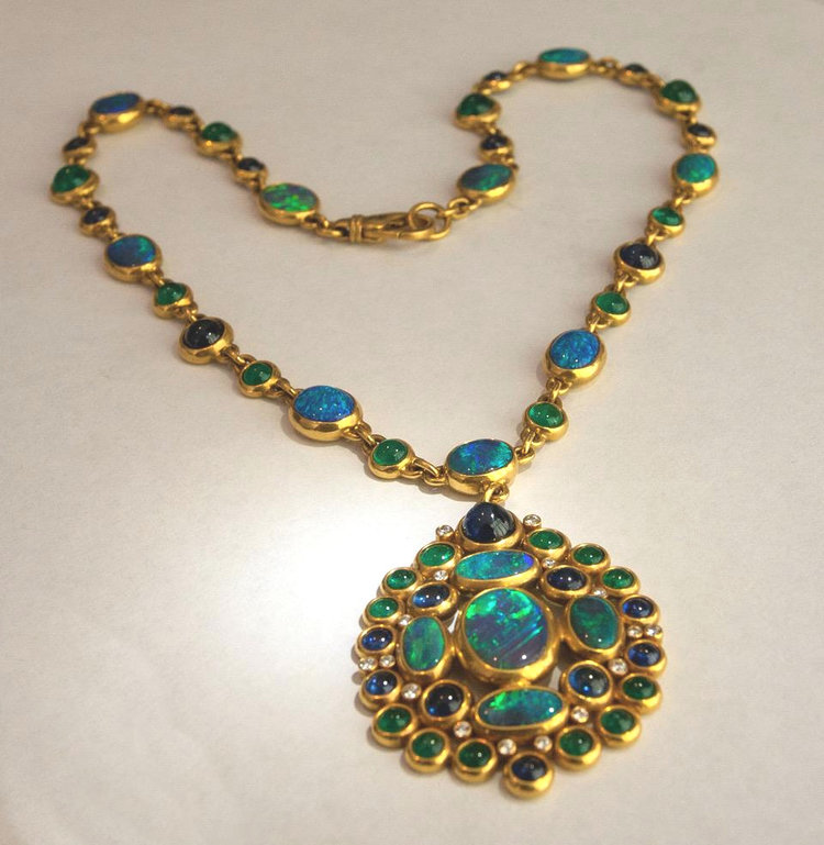 Black Coral with Black Opal and Labradorite Necklace  Handmade Jewellery
