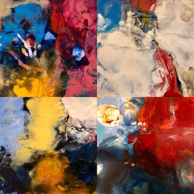 "Four Encaustic pieces/available DAMA 123 Main St, Walla Walla, WA #encaustic #hotwax #abstract #vivid #11""x12"" #diannawoolley"