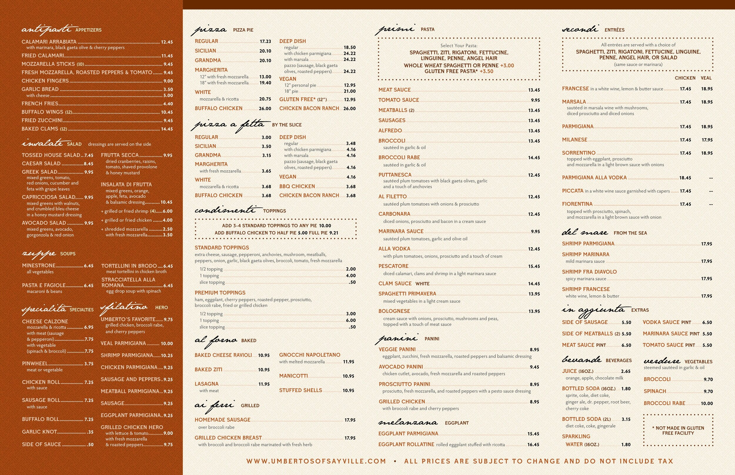 Take Out Menu