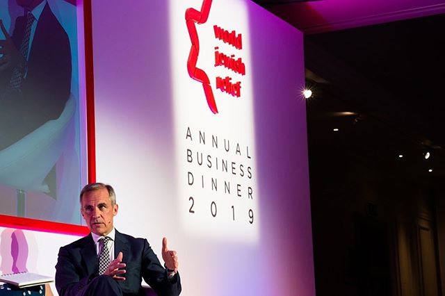 Governor at the BOE Mark Carney answering questions at a World Jewish Relief conference