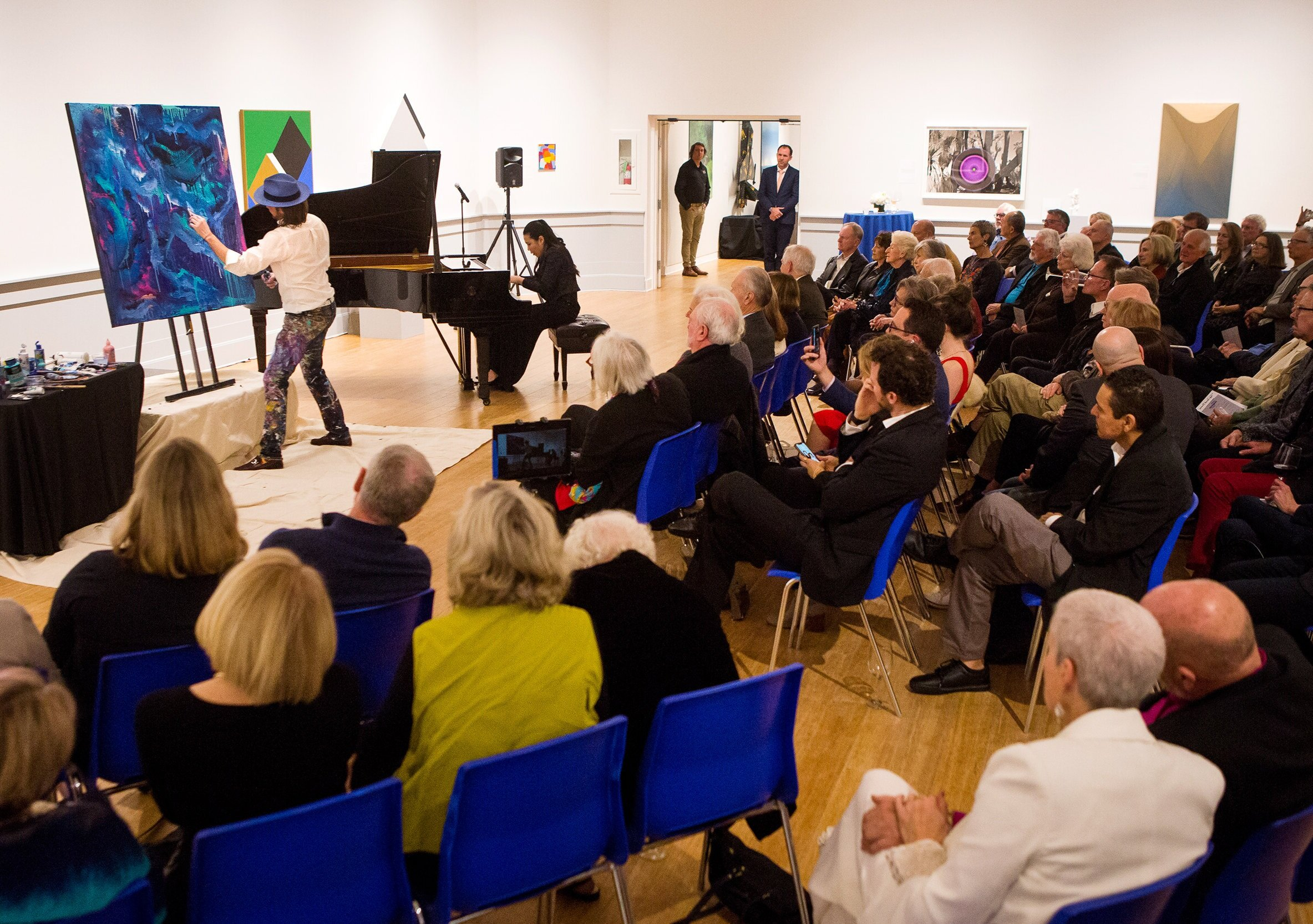 Live Painting - Tripp has developed and provided entertainment for numerous events with his interactive live paintings.Pictured: In Partnership with the Philharmonic Society of Orange County, Tripp created a 25 min live performance painting with Grammy nominated pianist Joyce Yang (music composition by Robert Schumann). This performance was a prelude to the Laguna Beach Music giving attendees a one-of-a-kind private experience.