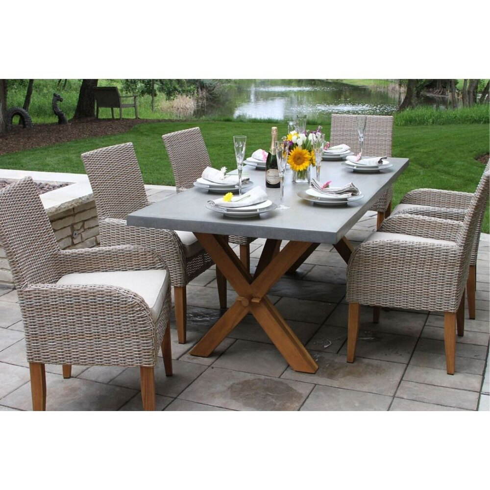 Teak Composite Dining Table Set, Dining Room Chairs Set Of 6