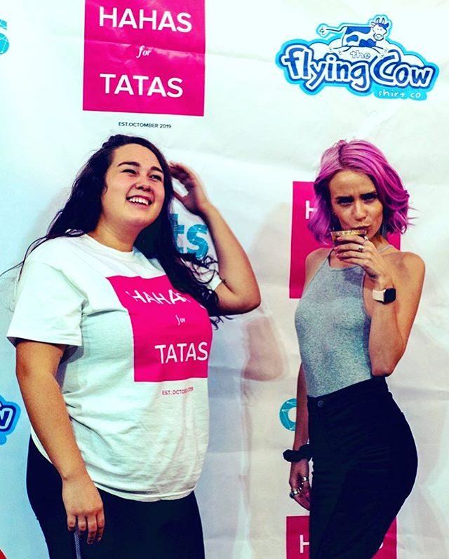 @hahasfortatas Women are the most important aspects of humanity 🙌🏽 we perpetuate our species, make sensible decisions, and are generally regarded as being the best (a very biased fact after three years of shite boyfriends)... @gracie_strawn and @gabbymg753 ... these two women are significantly better women than me, and at this event, they raised money and awareness for breast cancer by making us laugh with a bunch of brilliantly hilarious women, eating fantastic treats, and drinking beautiful boozahol. I'm so fucking lucky these ladies put up with me, and are such incredible friends and legends. I LOVE YOU LADIES!!! #hahasfortatas #kaysmythe #mimosabreath