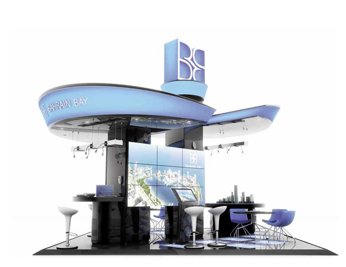 Stand Out. - We created a striking modular exhibition stand solution for Bahrain Bay with large swooping canopies to draw attention and establish a high sense of quality for the space. Large video wall installation provided the ultimate platform for the corporate video we produced.