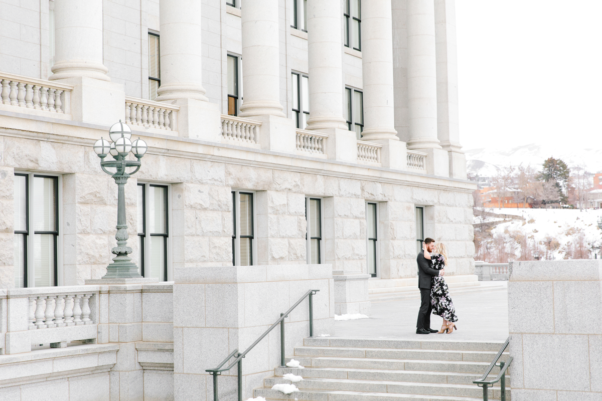 romantic engagement photography session kissing hugging arms around neck salt lake city capitol building utah valley engagement photographer professional #saltlakecitycapitolbuilding #engaged #utahvalleyengagementphotography #saltlakecityengagementphotographer #isaidyes #weddinginspo #engagementphotos #utah ##outfitinspo #fiance