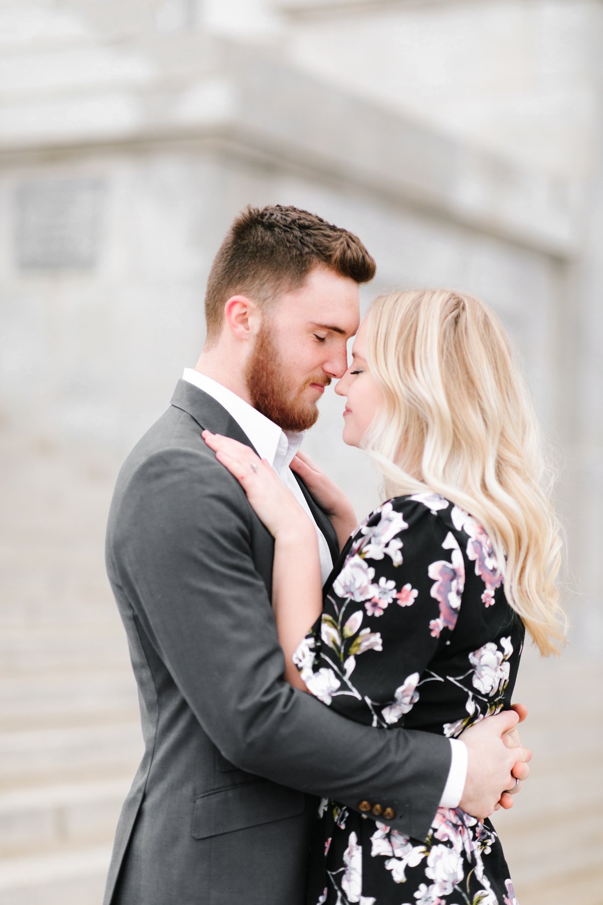 romantic intimate engagement photography session urban hands on chest holding close touching foreheads salt lake city capitol building utah valley engagement photographer #saltlakecitycapitolbuilding #engaged #utahvalleyengagementphotography #saltlakecityengagementphotographer #isaidyes #weddinginspo #engagementphotos #utah ##outfitinspo #fiance
