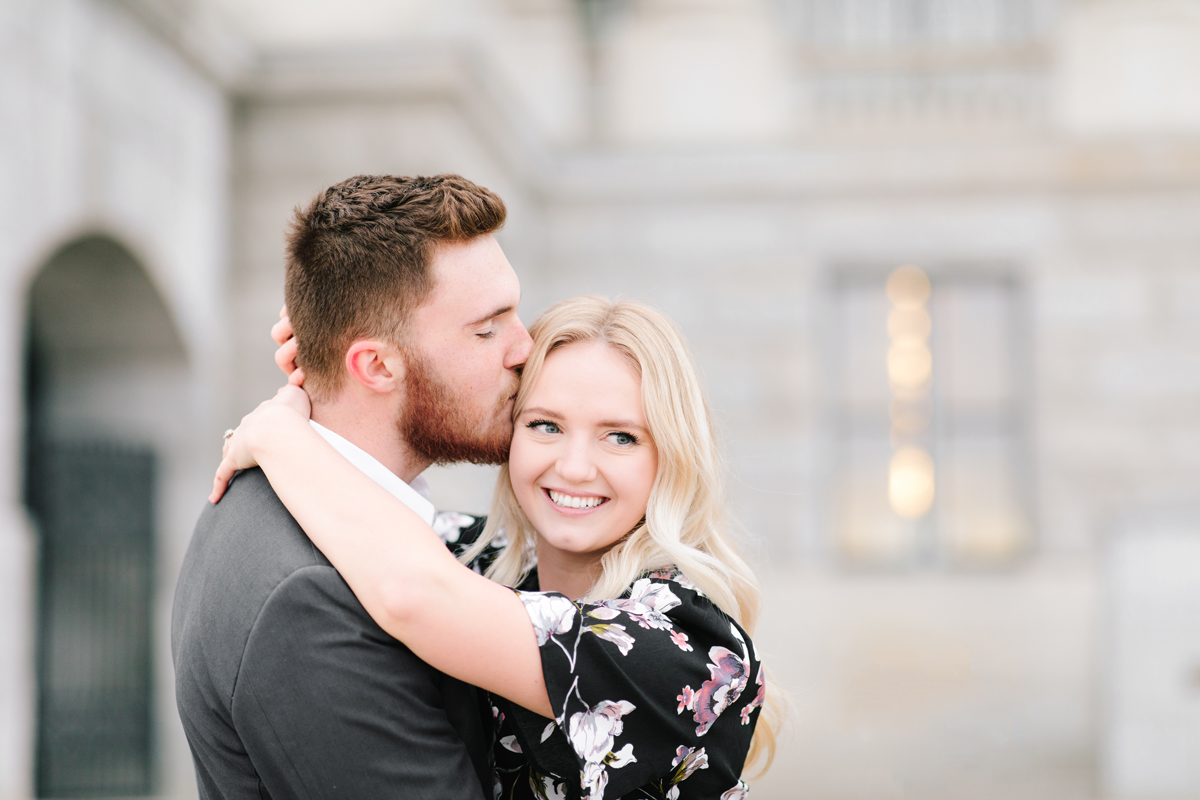 romantic engagement session arms around neck kissing forehead kissing hair blonde loose curled engagement hair inspiration salt lake city capitol building utah valley engagement photographer #saltlakecitycapitolbuilding #engaged #utahvalleyengagementphotography #saltlakecityengagementphotographer #isaidyes #weddinginspo #engagementphotos #utah ##outfitinspo #fiance
