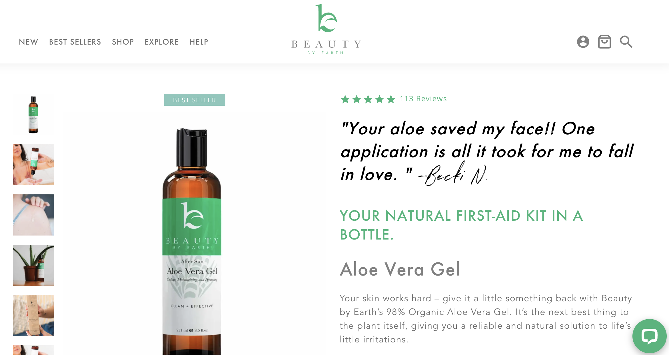 Beauty by Earth product page - Aloe Vera