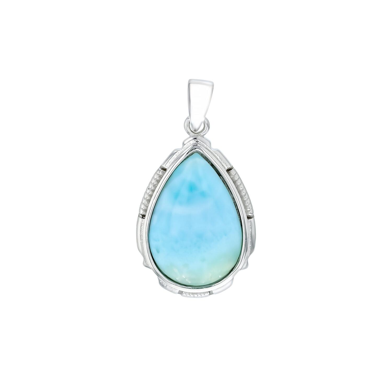 Elegant Larimar Pear Shape Gemstone Pendant For Easter Sale 925 Sterling Silver Handmade Designer Pendant Jewelry Length 1.2 ap5282
