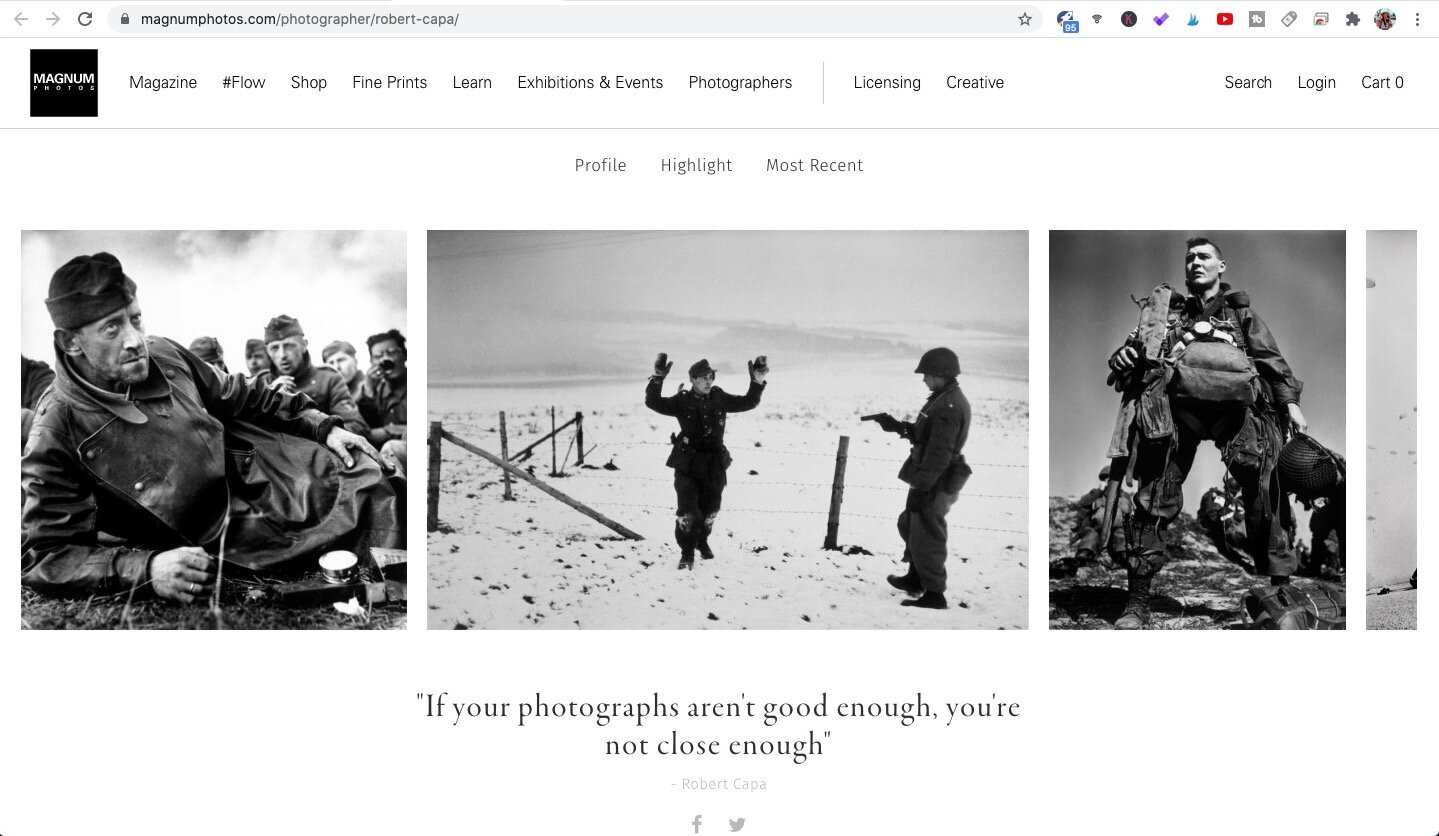 Screen capture of Robert Capa's profile on Magnum Photos' official website.
