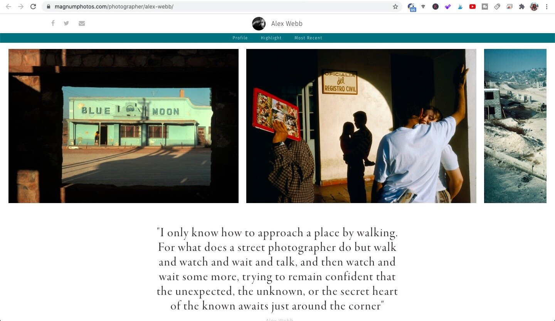 Screen capture of Alex Webb's profile on Magnum Photos' official website.