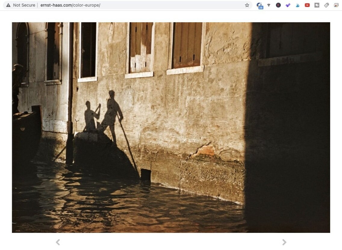 Venice, Italy (1955). Photo by Ernst Haas. Screen shot taken from Ernst Haas Estate.