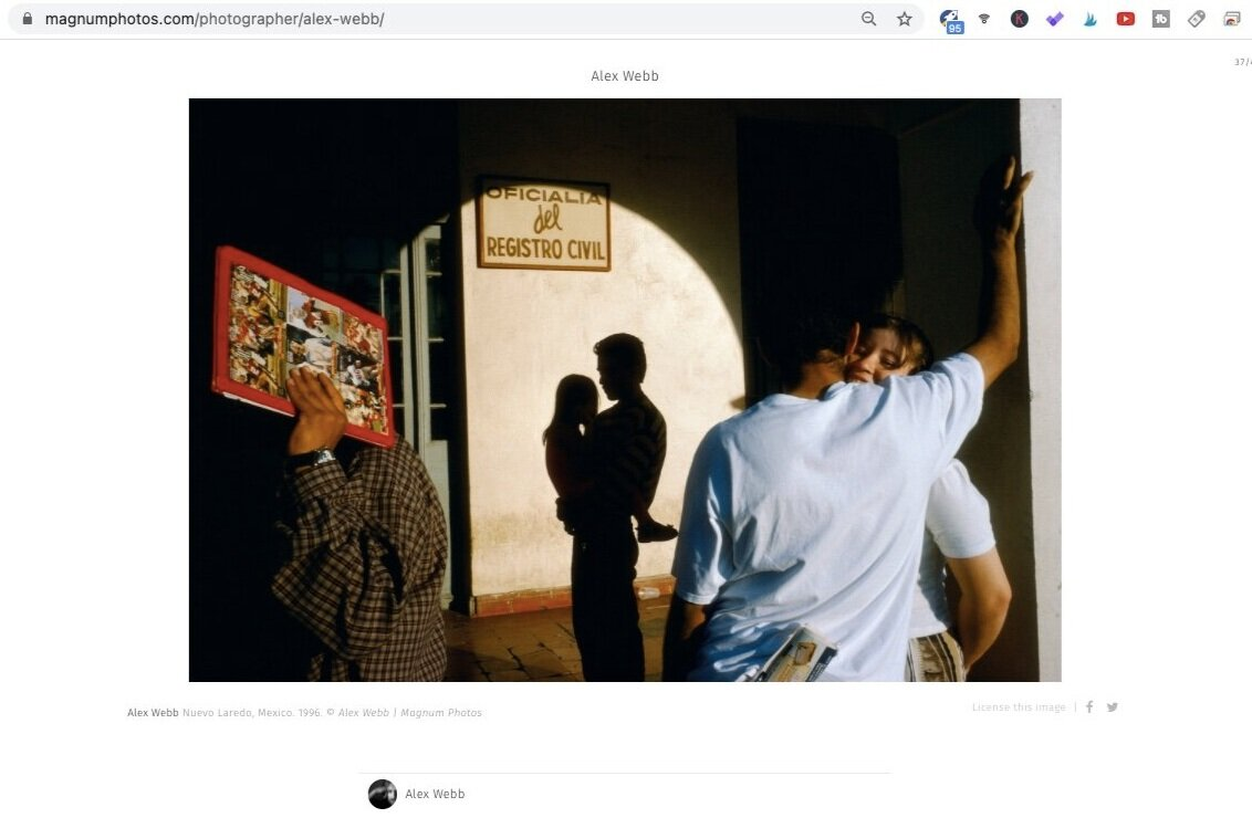 Nuevo Laredo, Mexico (1996). Photo by Alex Webb. Screen shot taken from Magnum Photos.