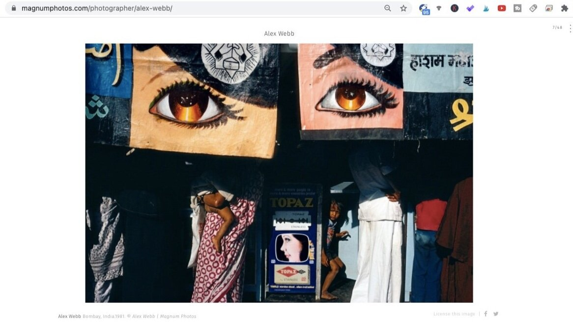 Bombay, India (1981). Photo by Alex Webb. Screen shot taken from  Magnum Photos .