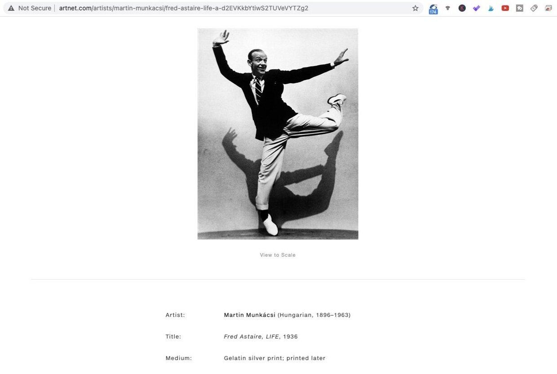 Fred Astaire (1936). Photo by Martin Muncácsi. Screen shot taken from Artnet.com.