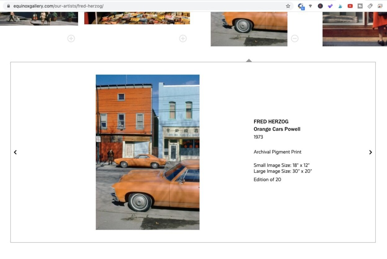 Orange Cars Powell (1973). Photo by Fred Herzog. Screen shot taken from Equinox Gallery.
