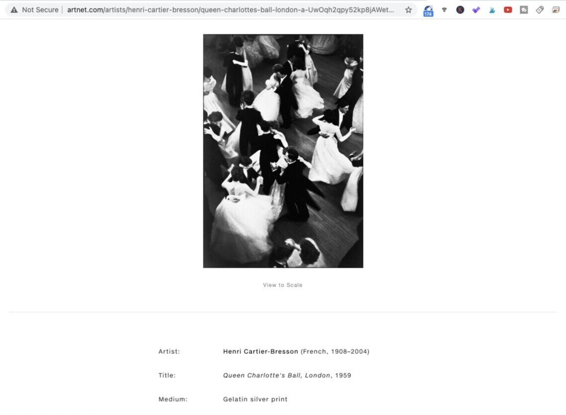 Queen Charlotte's Ball (1959). Photo by Henri Cartier-Bresson. Screen shot taken from Artnet.com.