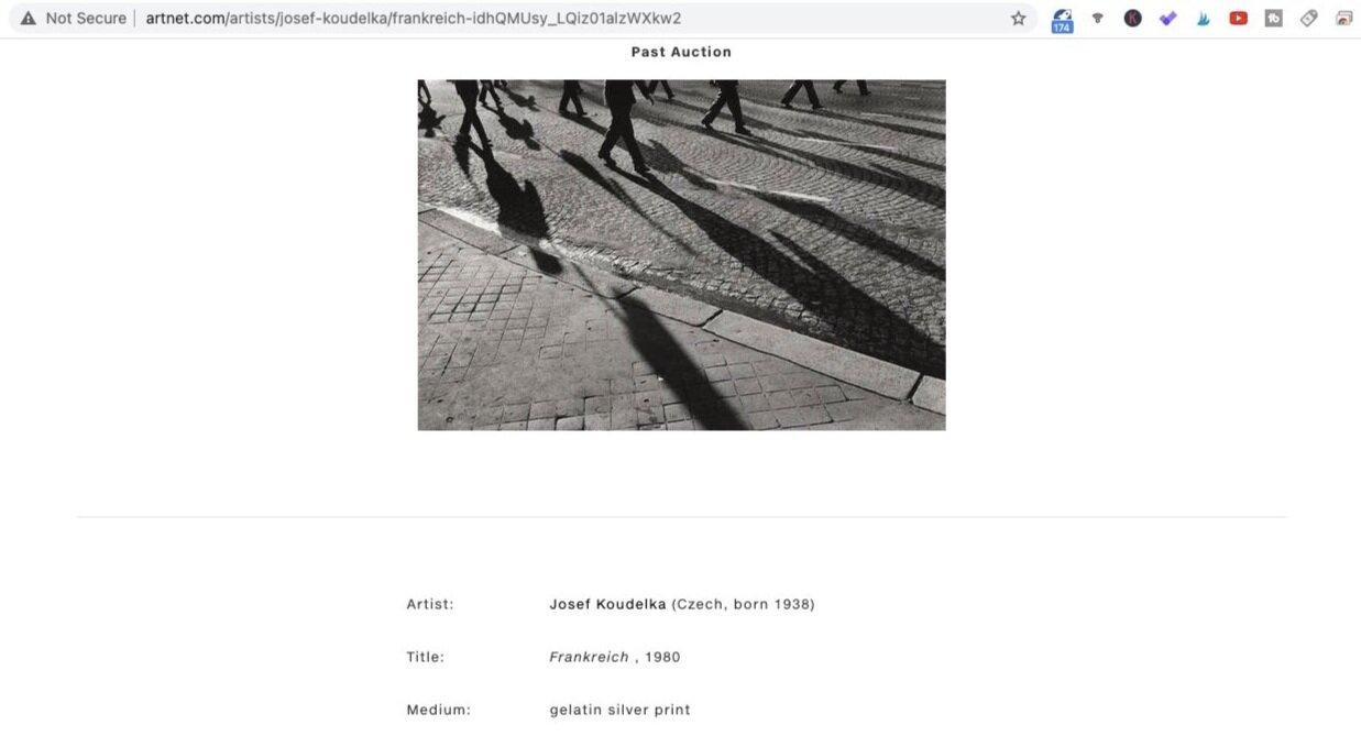 Frankreich (1980). Photo by Josef Koudelka. Screen shot taken from Artnet.com.