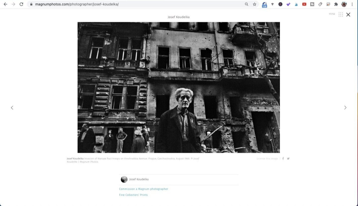 Photo by Josef Koudelka, from the series Invasion - Prague August 1968. Screen captured from Magnum Photos.