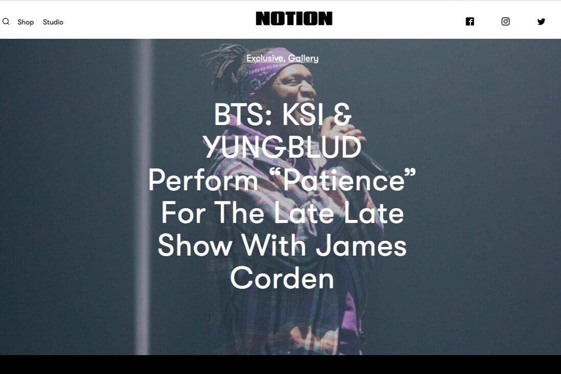 Notion Magazine: KSI x YUNGBLUD Live/ Editorial