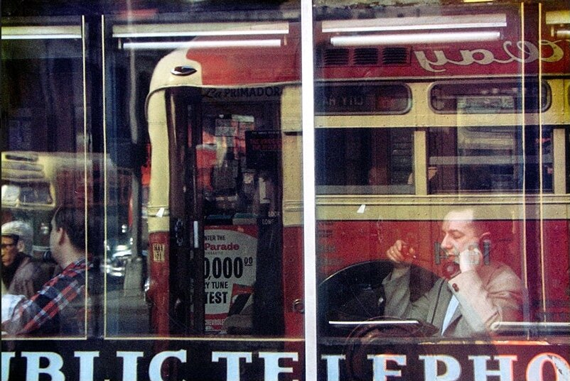 Photo by Saul Leiter, titled 'Phone Call', (1957).