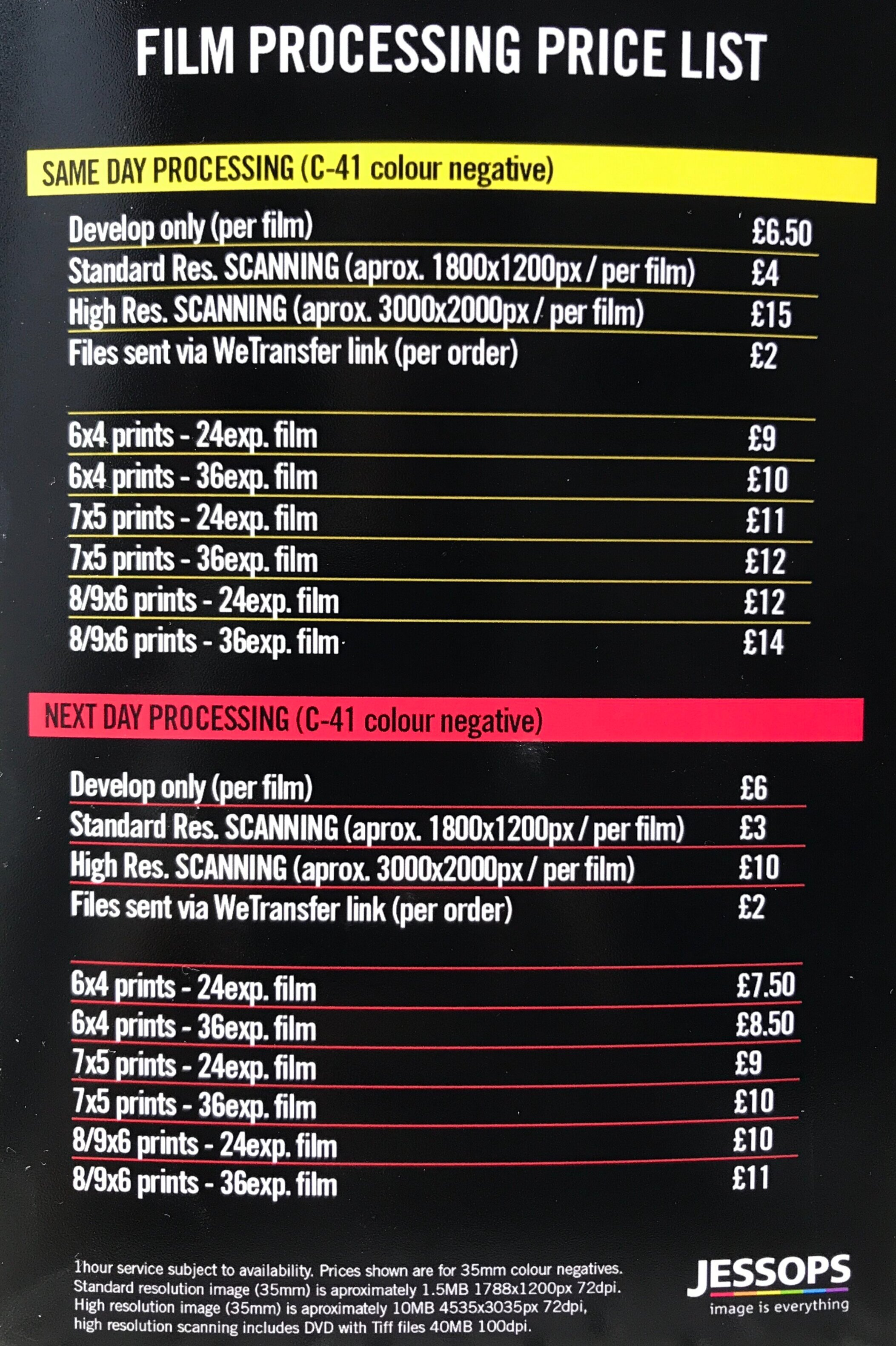 Jessops in-store film processing price list.