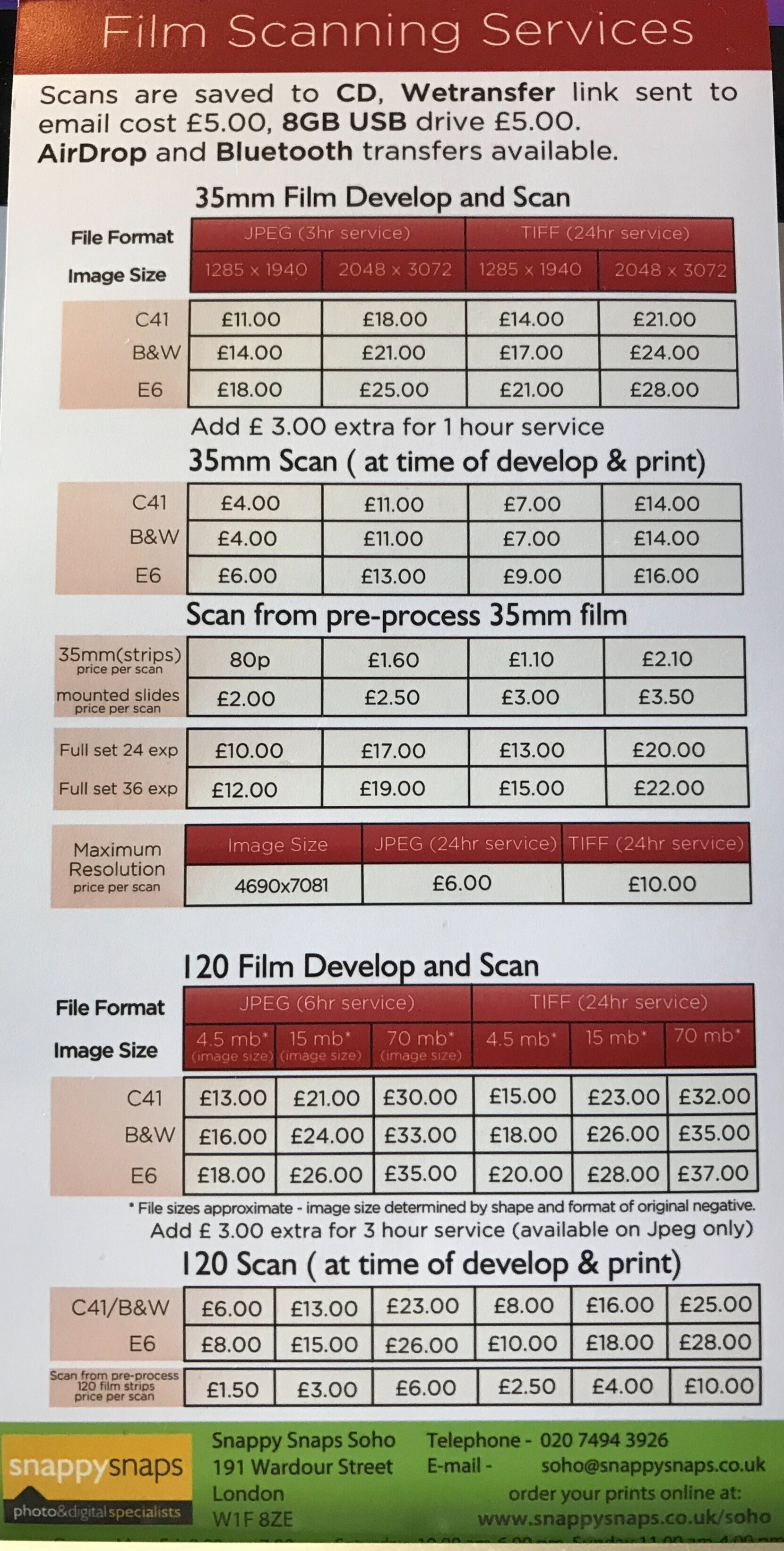 Snappy Snaps in-store film processing and scan price list.